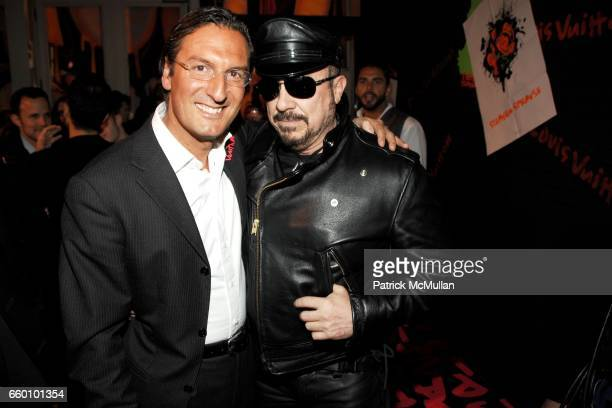 Pietro Beccari and Peter Marino attend LOUIS VUITTON Tribute to STEPHEN SPROUSE VIP Cocktail Party at Louis Vuitton on January 8 2009 in New York City