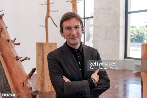 Pietro Beccari Chairman and Ceo of Fendi during a press preview for an art installation entitled 'Foglie di Pietra' by Giuseppe Penone which pays...