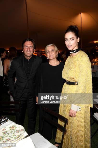 Pietro Beccari Miriam Leone and Silvia Venturini Fendi attend McKim Medal Gala at Villa Aurelia on June 7 2017 in Rome Italy