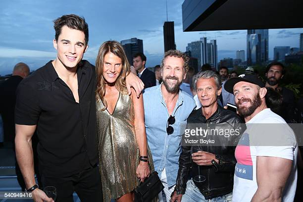 Pietro Boselli Anna Dello Russo Miguel Arnau Angelo Gioia and Giampaolo Sgura attend Dsquared2 Aftershow Sunset Cocktail at Ceresio 7 on June 17 2016...