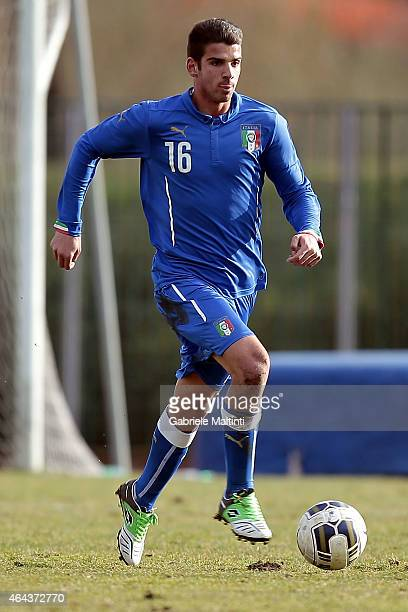 Pietro Ceccareoni of Italy U20 in action during the international friendly match between Italy U20 and Qatar U20 on February 25 2015 in Montelupo...