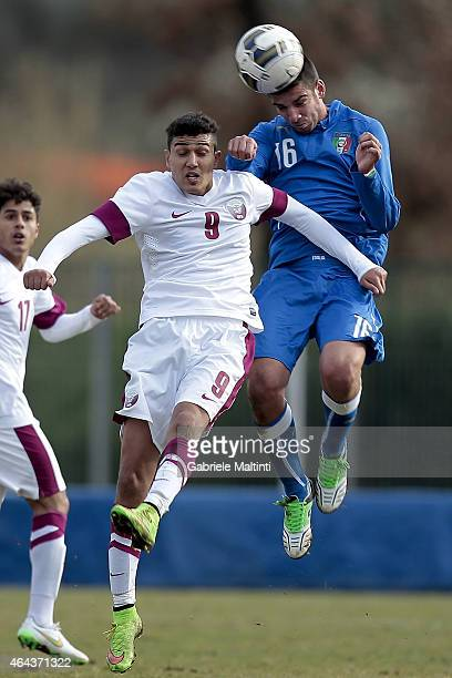 Pietro Ceccaroni of Italy U20 battles for the ball with Issa Sayed of Qatar U20 during the international friendly match between Italy U20 and Qatar...