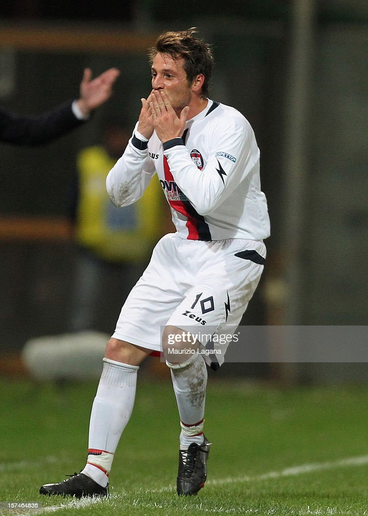 Pietro De Giorgio of Crotone celebrates after scoring his team's opening goal during the Serie B match between Reggina Calcio and FC Crotone at Stadio Oreste Granillo on December 3, 2012 in Reggio Calabria, Italy.