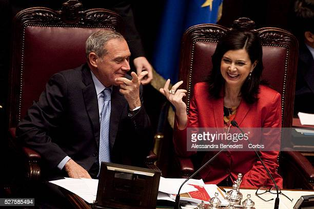 PIetro Grasso and Laura Boldrini during the 3rd votation of the Italian Parliament to elect the 12th President of the Italian Republic