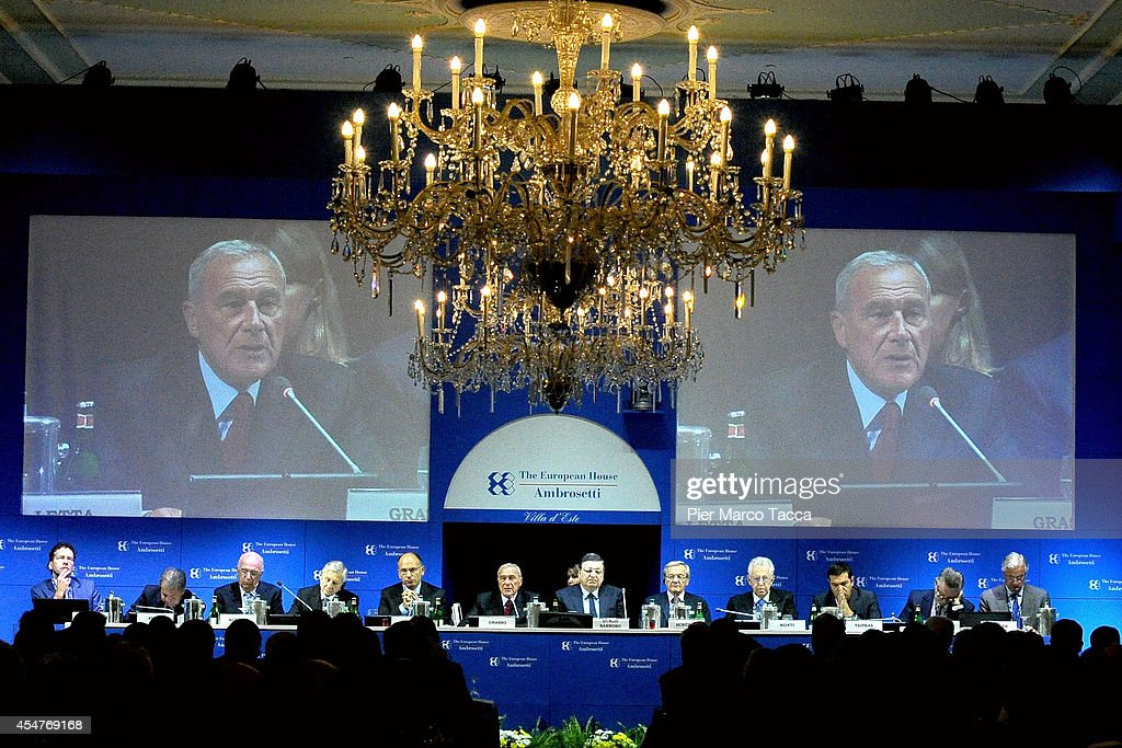 Pietro Grasso, <a gi-track='captionPersonalityLinkClicked' href=/galleries/search?phrase=Jose+Manuel+Barroso&family=editorial&specificpeople=551196 ng-click='$event.stopPropagation()'>Jose Manuel Barroso</a>, Wolfgang Schussel and <a gi-track='captionPersonalityLinkClicked' href=/galleries/search?phrase=Mario+Monti&family=editorial&specificpeople=632091 ng-click='$event.stopPropagation()'>Mario Monti</a> attend the Ambrosetti Inernational Economy Forum at Villa d'Este Hotel on September 5, 2014 in Como, Italy.'Intelligence on the World, Europe and Italy' is the title of the workshop of the 40th edition of Ambrosetti Inernational Economy Forum the intent of the workshop is to offer Italian and International decision-makers the opportunity for serious, high-level examination with the support of studies and statistics of geopolitical, economic, technological and social scenarios and their implication for business.