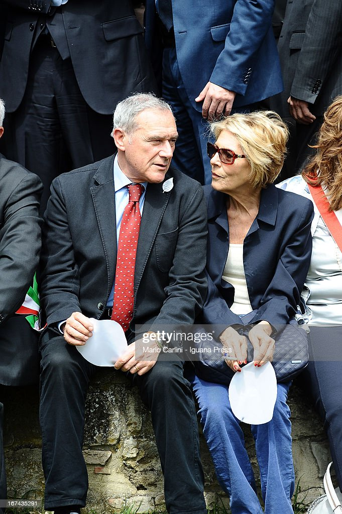 Pietro Grasso, President of the Senate of Italian Republic (L) and his wife Maria attend a celebration of the 68th anniversary of liberation and end of WWII at san Martino di Caparara on April 25, 2013 in Marzabotto, Italy.