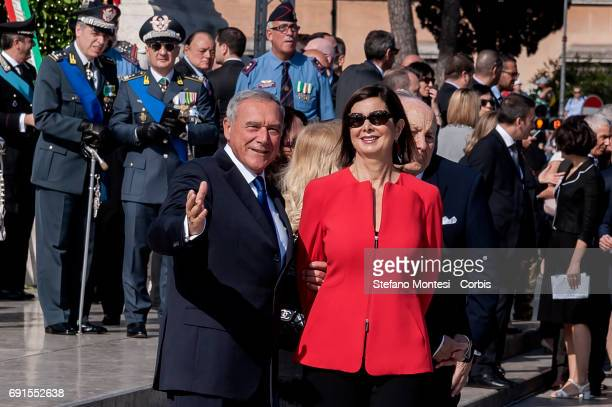Pietro Grasso Senate President and Lauro Boldrini President of the Chamber of Deputies Laura Boldrini attend the military parade during the...