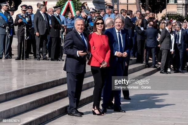 Pietro Grasso Senate President and Lauro Boldrini President of the Chamber of Deputies Laura Boldrini and Italian Prime Minister Paolo Gentiloni...
