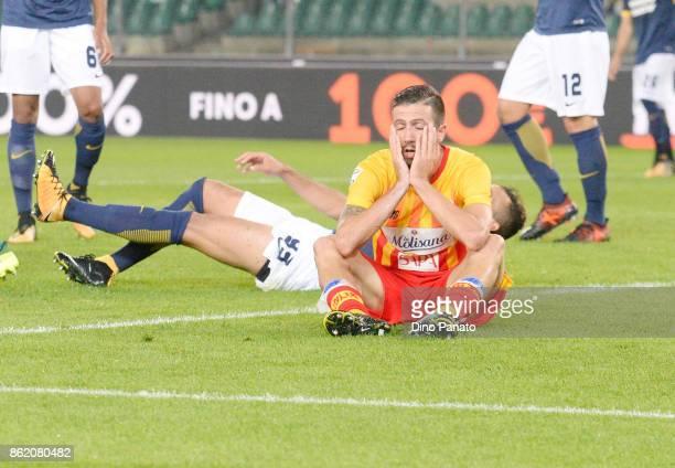 Pietro Iemmello of Benevento Calcio shows his dejection during the Serie A match between Hellas Verona FC and Benevento Calcio at Stadio Marc'Antonio...