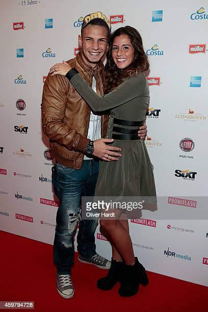 Pietro Lombardi and his wife Sarah Engels poses during the event 'Movie Meets Media' at Hotel Atlantic on December 1 2014 in Hamburg Germany