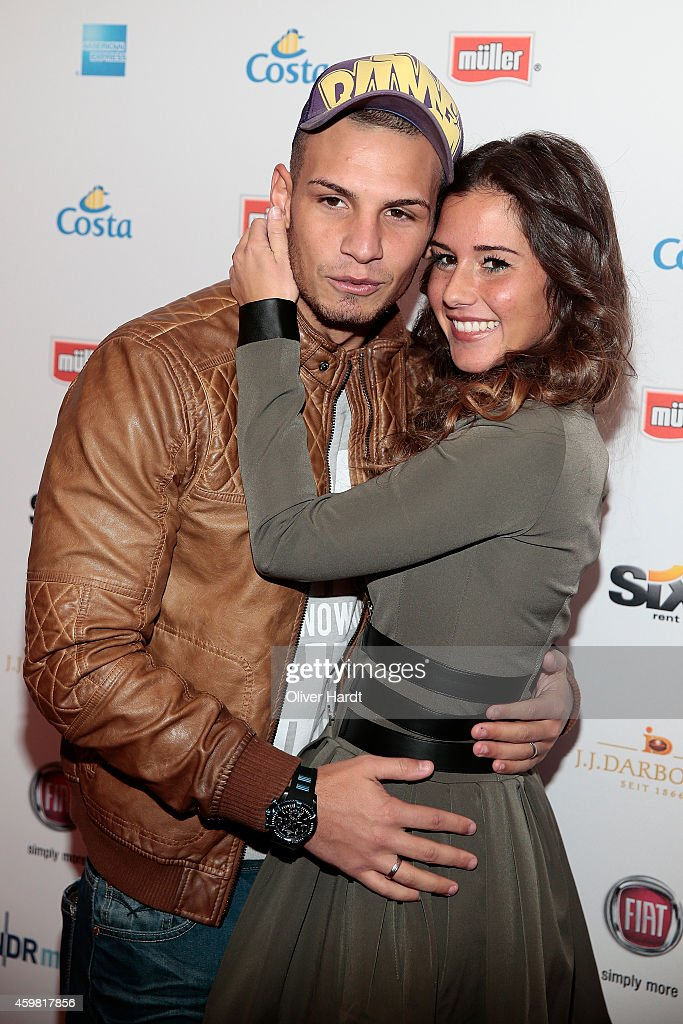 Pietro Lombardi and his wife Sarah Engels poses during the event 'Movie Meets Media' at Hotel Atlantic on December 1, 2014 in Hamburg, Germany.