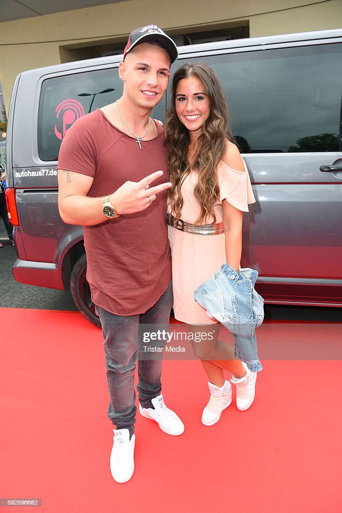 Pietro Lombardi and his wife Sarah Lombardi attend the VideoDays 2016 at Lanxess Arena on August 20 2016 in Cologne Germany
