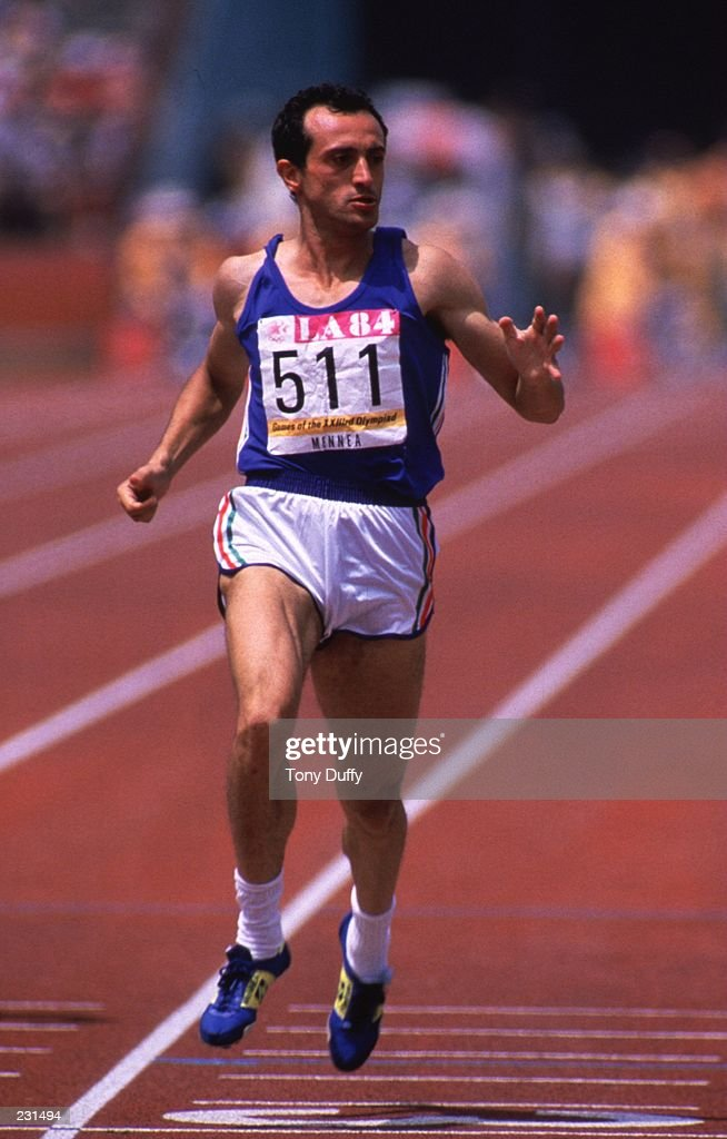 Pietro Mennea of Italy during the men''s 200m at the 1984 Olympic Games in Los Angeles, California.