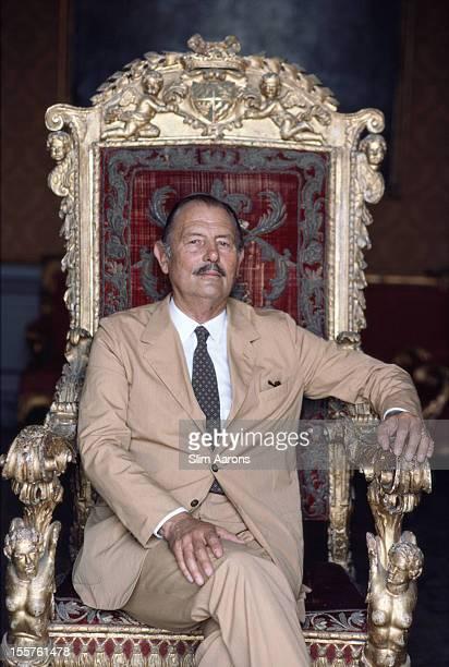 Pietro Moncada Principe di Paterno poses sitting in an orante chair in Palermo Italy in October 1984