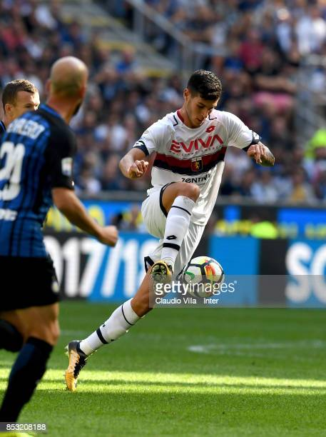 Pietro Pellegri of Genoa CFC in action during the Serie A match between FC Internazionale and Genoa CFC at Stadio Giuseppe Meazza on September 24...