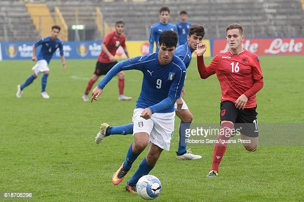 Pietro Pellegri of Italy in action during the UEFA European Under17 Championship Qualifier between Italy and Albania at Stadio Bruno Benelli on...