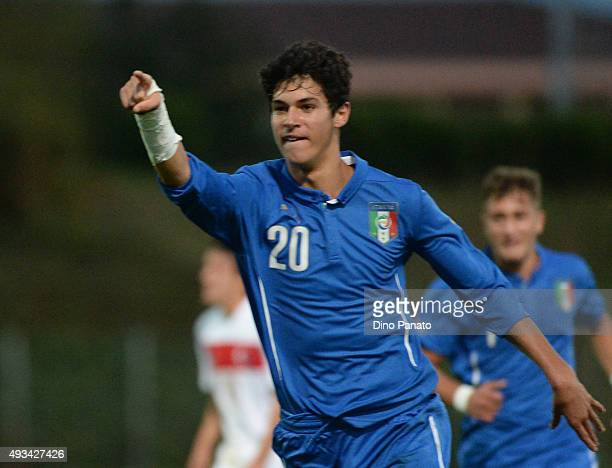 Pietro Pellegri of Italy U16 celebrates after scoring his opening goal during the international friendly match between Italy U16 and Turkey U16 at...