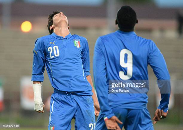 Pietro Pellegri of Italy U16 celebrates with Mose Kean Byoti after scoring his opening goal during the international friendly match between Italy U16...