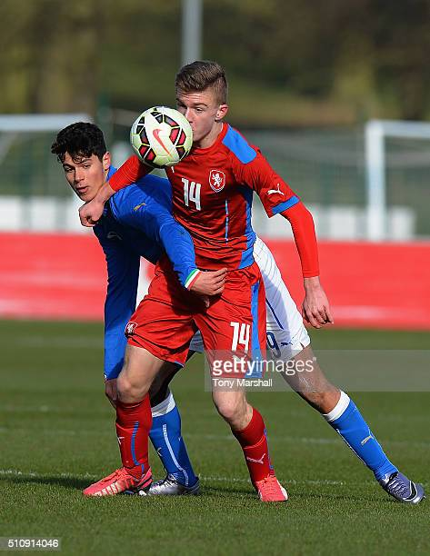 Pietro Pellegri of Italy U16 tackles David Machacek of Czech Republic U16 during the U16s International Friendly match between Italy U16 and Czech...