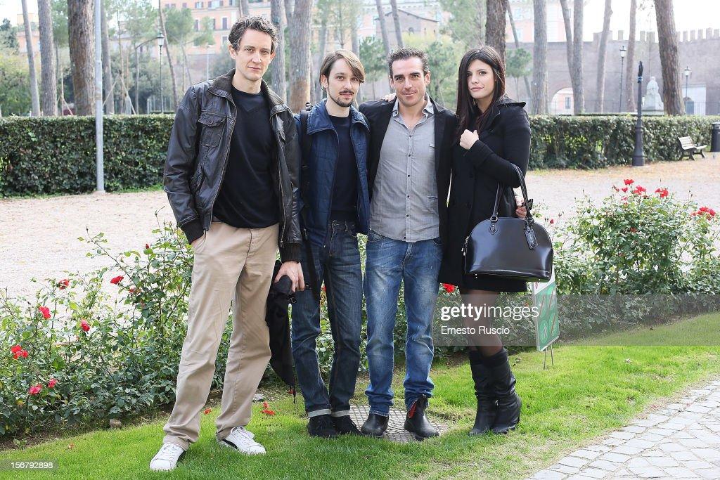 Pietro Ragusa, Nicola Sorrenti, Simone Gandolfo and Jennifer Mischiati attend the 'XXII Courmayeur Noir in Festival' press conference at Casa del Cinema on November 21, 2012 in Rome, Italy.