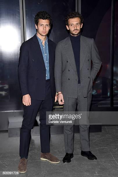 Pietro Ruffini and Romeo Ruffini attend the Moncler Gamme Bleu show during Milan Men's Fashion Week Fall/Winter 2016/17 on January 17 2016 in Milan...