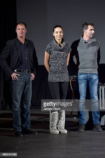 Pietro Sermonti Laura Barriales and Alfonso Tavano attend day 5 of 24th Courmayeur Noir In Festival on December 13 2014 in Courmayeur Italy