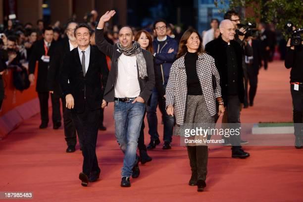 Pietro Valsecchi Checco Zalone and Camilla Nesbitt attend 'Checco Zalone' Premiere during The 8th Rome Film Festival on November 14 2013 in Rome Italy