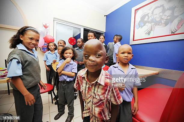 Pietros Mokunke celebrates his 6th birthday on November 8 2013 with friends at Wimpy in Ventersdorp South Africa The Smile Foundation sponsored the...
