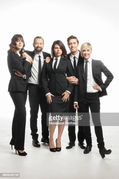 Pif Miriam Leone Nadia Toffa Fabio Volo and Geppi Cucciari reporters of the TV program Le Iene Italy 18th January 2016