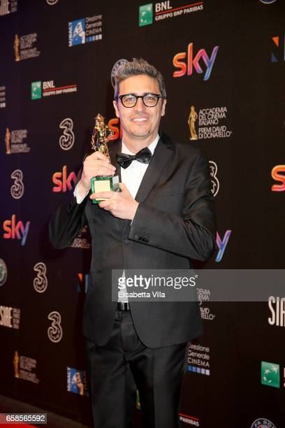 Pif poses with his 'David Giovani' Award during the 61 David Di Donatello ceremony on March 27 2017 in Rome Italy