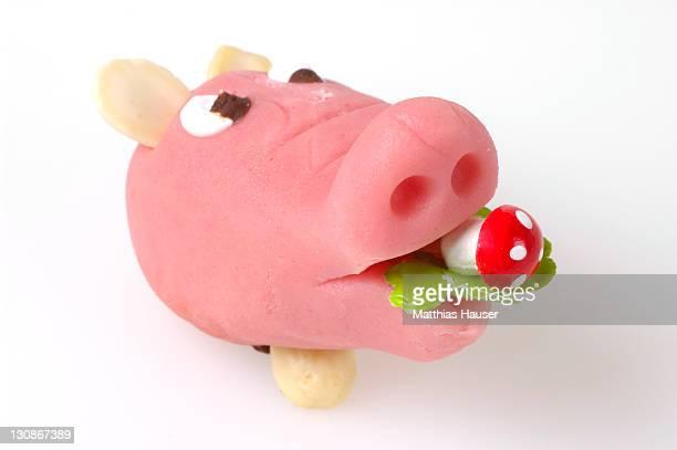 Pig made of marzipan as a symbol of good luck
