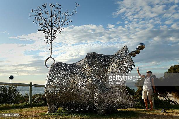 'Pig of Fortune' by artist Tae Geun Yang is seen during Sculpture By The Sea 2016 at Cottesloe Beach on March 18 2016 in Perth Australia