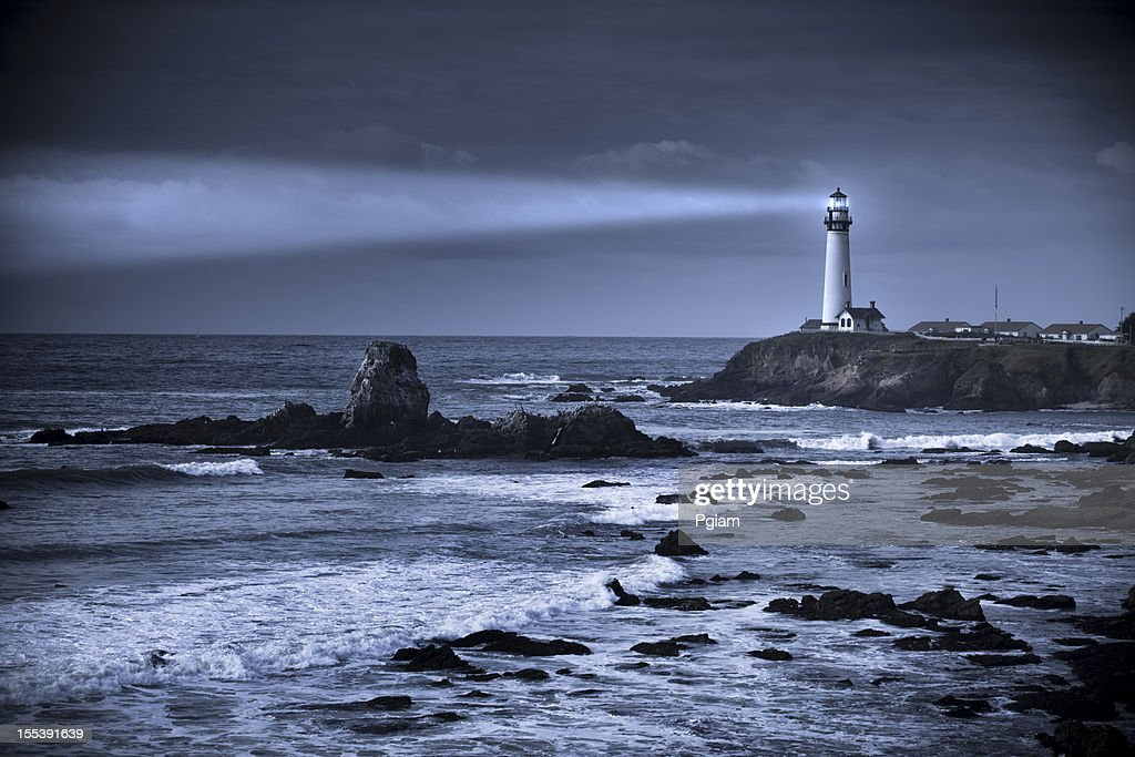Pigeon Point lighthouse USA, California, Big Sur : Stock Photo