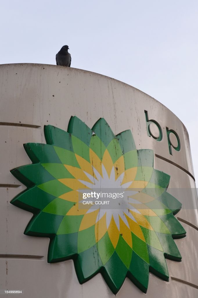 A pigeon rests on a BP sign outside a filling station in central London on October 30, 2012. BP posted earnings far stronger than expected and hiked its dividend as the British energy giant prepared for a new Russia adventure after being rocked by the devastating Gulf of Mexico oil spill.
