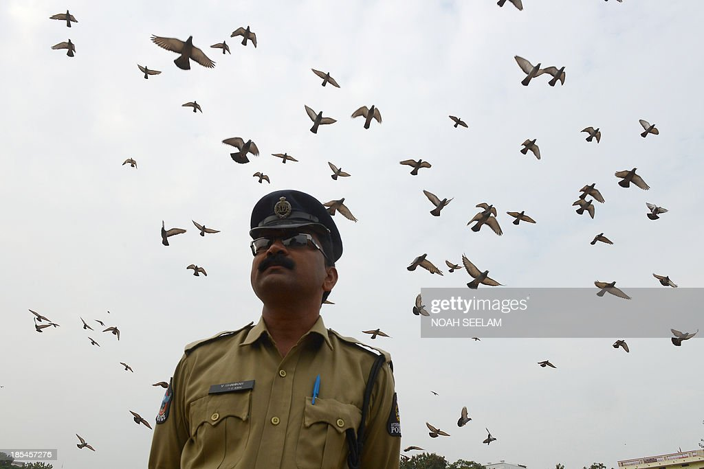 Pigeons fly as an Indian policeman stands to attention during a parade to police martyrs on the occasion of National Police Commemoration Day in Hyderabad on October 21, 2013. Indian police salute and honour the courage and commitment of police-men who laid down their lives in the execution of their official duty for the country. AFP PHOTO / Noah SEELAM