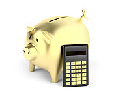 Gold piggy bank and calculator on white background