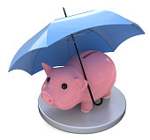 piggy bank and Financial insurance concept in the design of the information related to finance and business