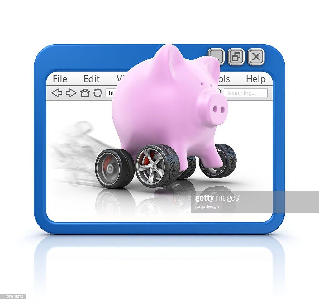Sparschwein im browser : Stock-Foto