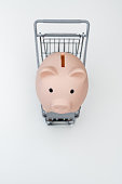 Piggy bank in shopping cart isolated on white background. Saving money for grocery store concept.