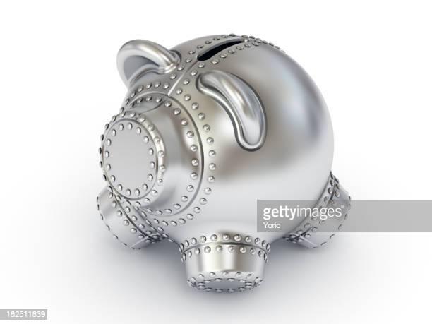 Tirelire en forme de cochon en acier.