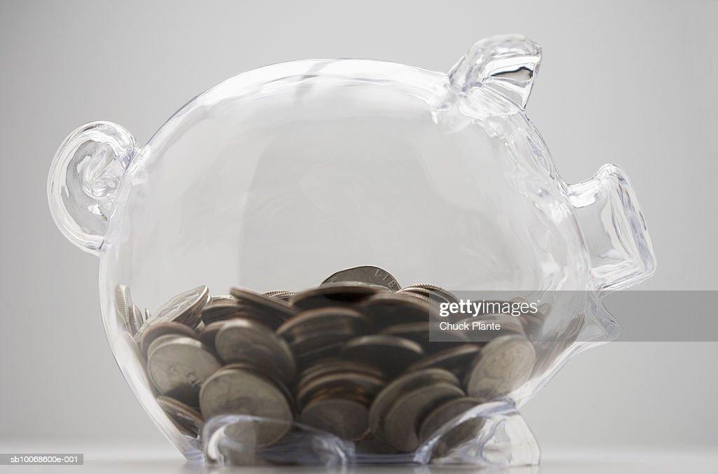 Piggy bank of coins : Stock Photo