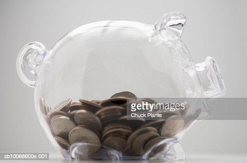 Piggy bank of coins