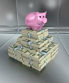 Piggy bank on stack of hundred dollar bills