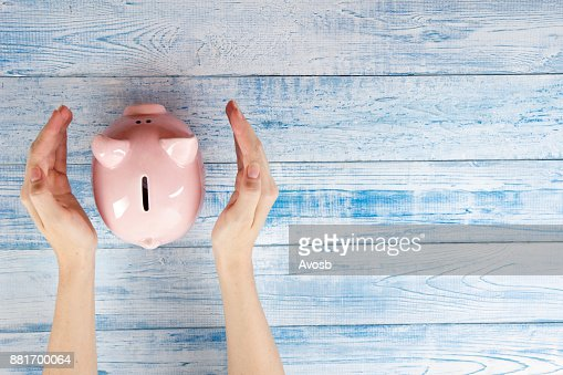 Piggy Bank, Savings, Currency. Protect your money concept : Stock Photo