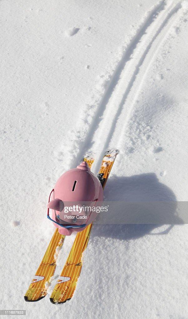 piggy bank skiing