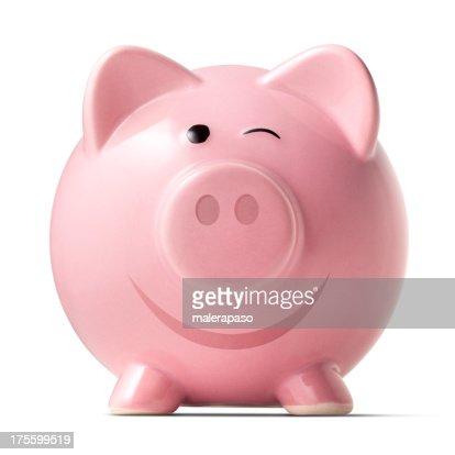 Piggy bank winking
