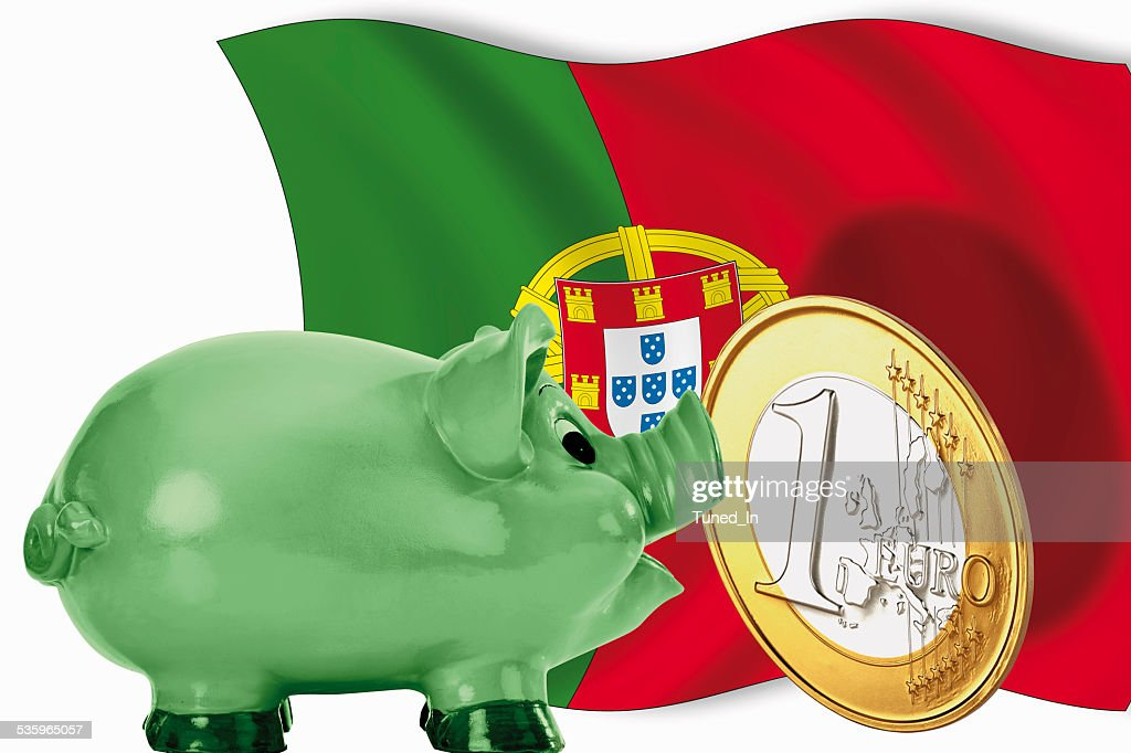 Piggy bank with 1 euro coin and portuguese flag : Stock Photo
