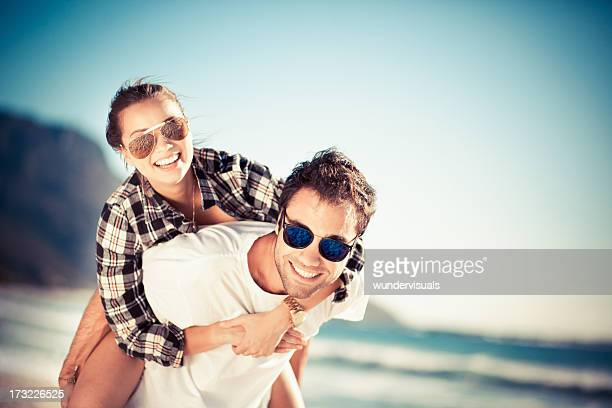 Piggyback ride at the beach