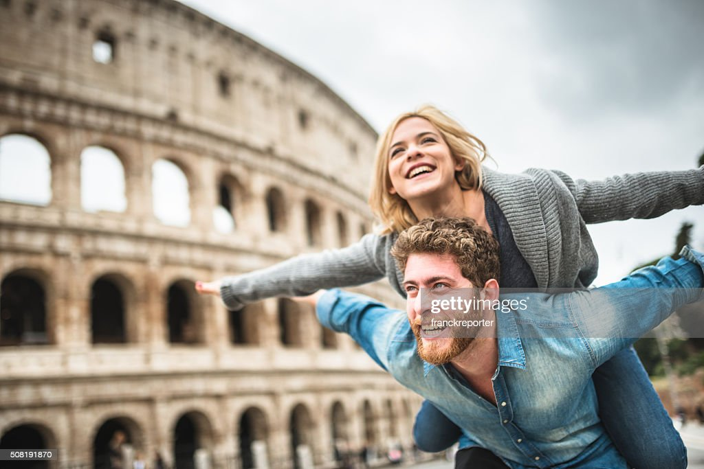 piggybacking for st. valentine in rome : Stock Photo