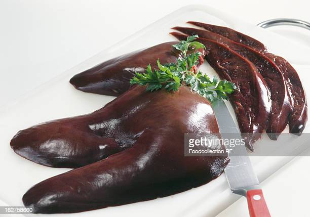 Pig's liver on chopping board